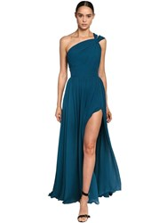 Elie Saab One Shoulder Crepe Georgette Long Dress Blue
