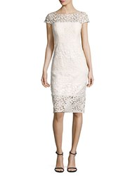 Kay Unger Paneled Lace Sheath Dress White