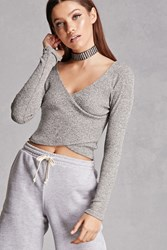 Forever 21 Marled Knit Surplice Crop Top Charcoal