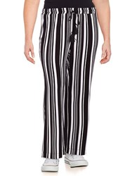 Context Plus Striped Jersey Knit Wide Leg Pants Grey