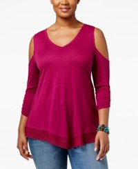 American Rag Trendy Plus Size Cold Shoulder Top Only At Macy's Raspberry Radiance