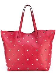 Red Valentino Star Studded Shopping Bag Women Calf Leather One Size Red