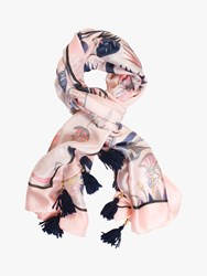Chesca Floral Tasselled Trim Scarf Blush