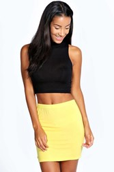 Boohoo Mini Bodycon Jersey Skirt Yellow