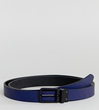Asos Design Plus Smart Skinny Reversible Belt In Black And Navy Faux Leather Black Navy