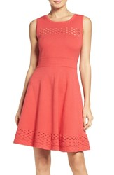 Chelsea 28 Women's Chelsea28 Knit Fit And Flare Dress Coral