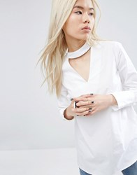 Asos White V Cut Out Shirt With Button Down Back White
