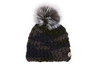 Mischa Lampert Women's Pomster Fur Embellished Wool Beanie Grey Green Navy Dark Green