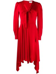Alexander Mcqueen Draped Asymmetric Dress Red