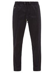Dolce And Gabbana Logo Plaque Stretch Cotton Gabardine Trousers Navy