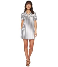 Miss Me Lace Up Striped Dress Navy Clothing