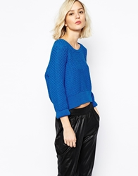 Gestuz Talia Cropped Jumper In Chunky Knit Blue