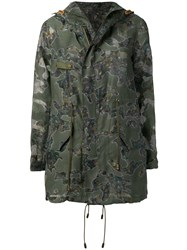 Mr And Mrs Italy Floral Organza Detail Parka Green