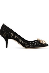 Dolce And Gabbana Embellished Corded Lace Pumps Black