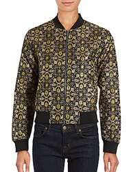 Romeo And Juliet Couture Baseball Collar Bomber Jacket Black Gold