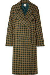 Sea Ethno Pop Oversized Checked Wool Blend Coat Green