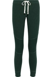 Monrow Woman Ribbed Knit Paneled French Terry Track Pants Emerald
