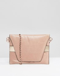 Urbancode Real Leather Cross Body Bag With Rose Gold Band Pink