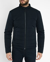 Ikks Navy Multi Material Down Jacket Blue