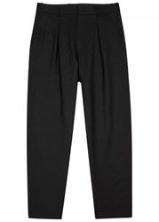 Second Layer Black Cropped Stretch Wool Trousers