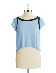 Casual Couture By Green Envelope Cropped Tee Sky