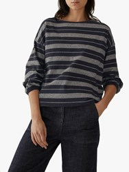 Toast Muso Stripe Cotton Top Midnight Fog