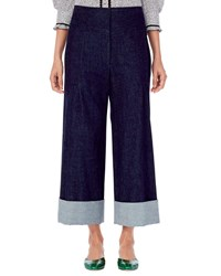 Carolina Herrera Wide Leg Cropped Denim Pants Blue