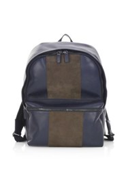 Saks Fifth Avenue Collection Colorblock Leather Backpack Navy Brown