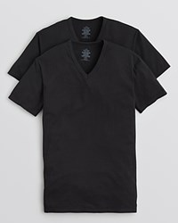 Calvin Klein Cotton Stretch V Neck Tee 2 Pack Black