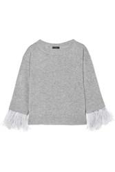 J.Crew Feather Trimmed Wool Blend Sweater Gray