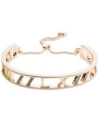 Anne Klein Gold Tone Crystal Accented Roman Numeral Slider Bracelet