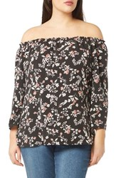 Evans Plus Size Women's Floral Bardot Top Dark Multi