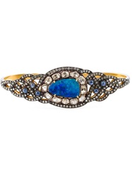 Gemco Diamond Opal And Sapphire Hand Bracelet Metallic