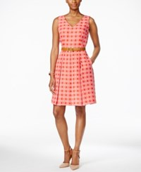 Tahari By Arthur S. Levine Tahari Asl Sleeveless Belted Geo Print Fit And Flare Dress Light Pink