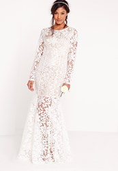 Missguided Bridal Lace Open Back Maxi Dress White White