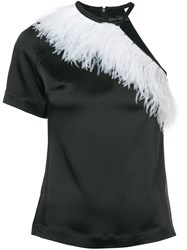 David Koma Feathered Blouse Black