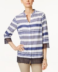 Charter Club Striped Crochet Hem Shirt Only At Macy's Bright White Combo