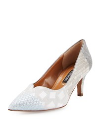 Kay Unger Kiarra Multi Fabric Low Heel Pump Taupe Brown