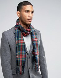 Asos Woven Tartan Scarf In Black And Red Black