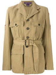 Ralph Lauren Belted Military Jacket Nude And Neutrals