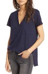 Lush Women's Raw Edge Side Slit Tee Eclipse
