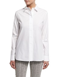 Carven Long Sleeve Poplin Button Front Blouse Optic White Blanc Optique