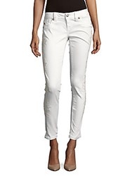 Miss Me Floral Motif Skinny Fit Jeans White