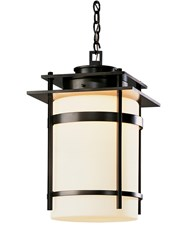 Hubbardton Forge Banded Large Outdoor Fixture Dark Smoke Opal Gray