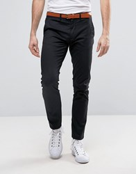 Selected Homme Slim Fit Chino With Leather Belt Black