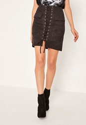 Missguided Black Faux Suede Pocket Detail Lace Up Front Mini Skirt