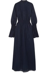 Adam By Adam Lippes Shirred Cotton Voile Jacquard Maxi Dress Navy