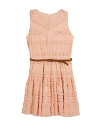 Mayoral Knit Lace Sleeveless Dress W Belt Size 8 16 Beige