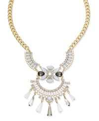 Inc International Concepts Snow Queen Gold Tone Winged Crystal Bib Necklace Only At Macy's