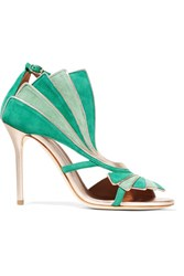 Malone Souliers Rosie Metallic Leather Trimmed Suede Sandals Emerald